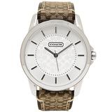 【限時特賣 集購下殺】COACH 優雅簡約經典LOGO皮帶腕錶-卡其 (現貨+預購)