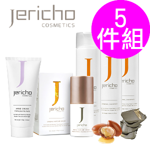 Jericho 死海奇蹟健髮5件組 (死海洗髮精任選3入+護髮精華液x1 送 死海護手乳)